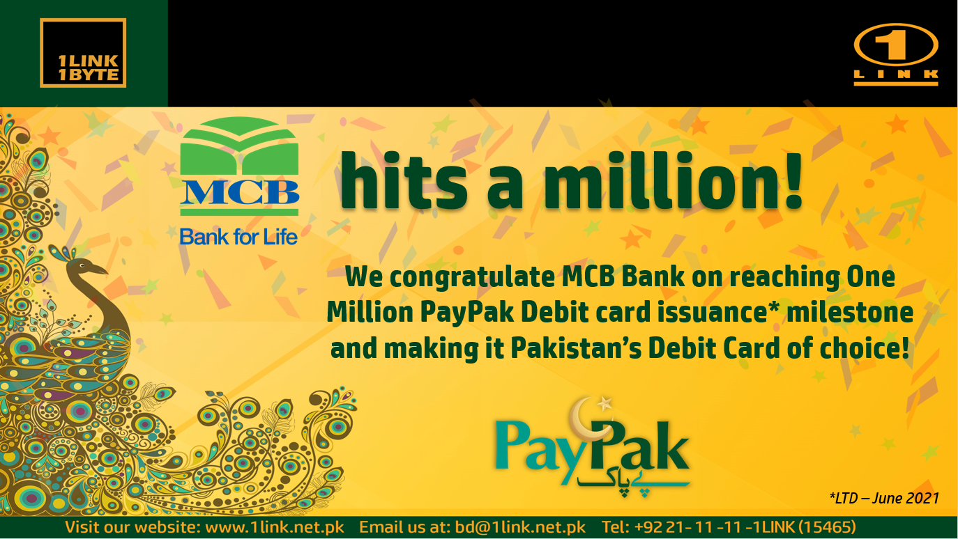 We congratulate MCB Bank on reaching One Million PayPak Debit card issuance!